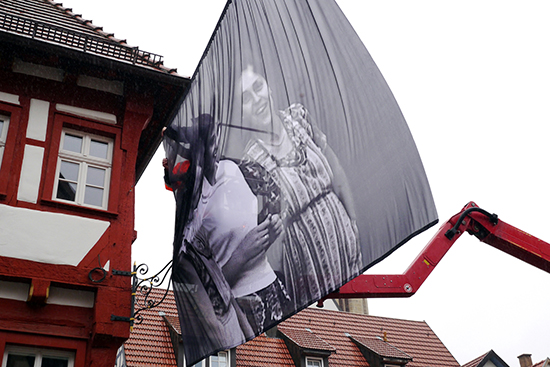 """INSTALLING THE BANNERS FOR """"MONUMENT"""", SUMMER 2014"""